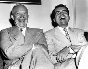 FILE--Gen. Dwight D. Eisenhower, left, and Sen. Richard Nixon of California, 1952 Republican nominees for President and Vice President of the U.S., respectively, enjoy a good laugh at the Blackstone Hotel in Chicago, July 12, 1952. Eisenhower, who recorded a meeting in 1954 in which he chastises Nixon for campaigning too aggressively against the Democrats, fancied tape machines before he was president. (AP Photo/File)
